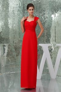 Ankle-length Ruched Red Dresses For Damas with Cutouts on Back