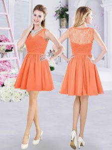 Orange Side Zipper Quinceanera Court Dresses Lace and Ruching Sleeveless Mini Length