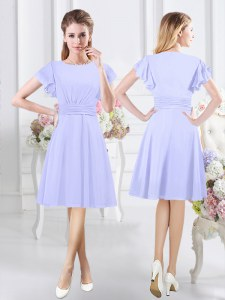 Sexy Lavender Side Zipper Scoop Ruching Court Dresses for Sweet 16 Chiffon Short Sleeves