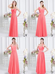Customized Watermelon Red Sleeveless Chiffon Zipper Damas Dress for Prom and Party and Wedding Party