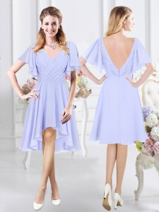 Extravagant Chiffon Short Sleeves High Low Dama Dress and Ruching