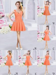 Mini Length Orange Dama Dress Straps Sleeveless Zipper