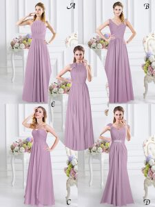 Floor Length Lavender Quinceanera Court of Honor Dress Sweetheart Cap Sleeves Zipper