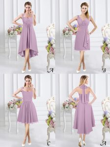 Lavender Zipper Halter Top Ruching Dama Dress for Quinceanera Chiffon Sleeveless