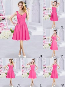 High Quality Hot Pink Sleeveless Chiffon Zipper Vestidos de Damas for Prom and Party and Wedding Party