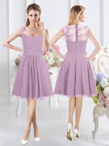 Hot Selling Straps Cap Sleeves Chiffon Knee Length Zipper Dama Dress in Lavender with Lace