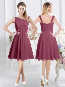 Burgundy Asymmetric Zipper Ruching Damas Dress Sleeveless