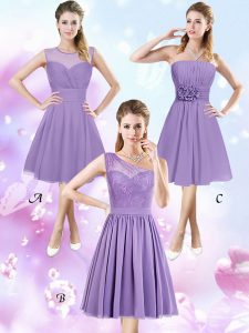Affordable Lavender Zipper Scoop Lace and Ruching and Hand Made Flower Dama Dress Chiffon Sleeveless