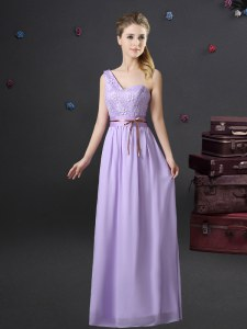 Lavender One Shoulder Neckline Lace and Appliques and Belt Quinceanera Dama Dress Sleeveless Lace Up
