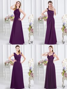 Halter Top Purple Sleeveless Lace and Ruching Floor Length Damas Dress