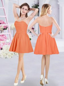Mini Length Zipper Quinceanera Court of Honor Dress Orange for Prom and Party and Wedding Party with Ruching