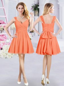 Captivating Ruching and Belt Vestidos de Damas Orange Zipper Sleeveless Mini Length