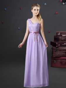 One Shoulder Sleeveless Chiffon Quinceanera Court Dresses Lace and Appliques and Belt Lace Up