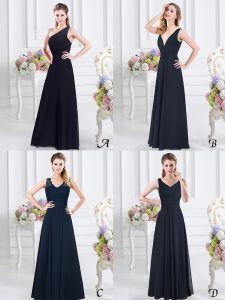 Luxury One Shoulder Sleeveless Side Zipper Floor Length Ruching Court Dresses for Sweet 16