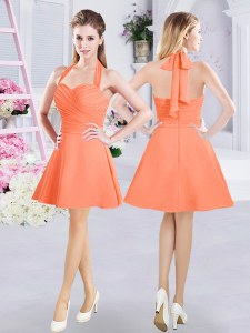 Halter Top Orange Sleeveless Chiffon Zipper Quinceanera Court of Honor Dress for Prom and Party and Wedding Party