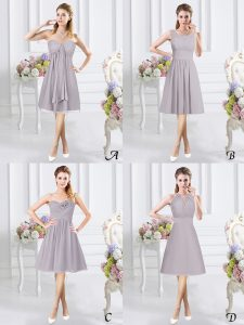 Grey A-line Lace and Ruching and Hand Made Flower Damas Dress Side Zipper Chiffon Sleeveless Knee Length