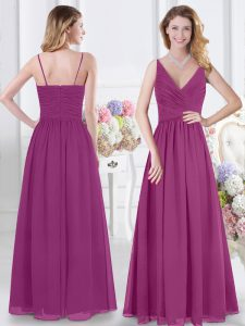 Floor Length Fuchsia Quinceanera Court Dresses V-neck Sleeveless Zipper