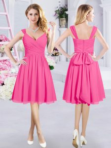 Chiffon Straps Sleeveless Zipper Ruching and Belt Vestidos de Damas in Hot Pink