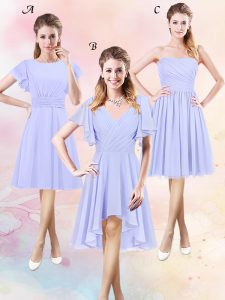 Dynamic Scoop Lavender Chiffon Side Zipper Dama Dress Short Sleeves High Low Ruching