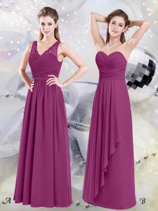 Lace and Ruching Dama Dress Fuchsia Side Zipper Sleeveless Floor Length