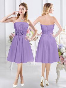 Strapless Sleeveless Quinceanera Court of Honor Dress Knee Length Ruching and Hand Made Flower Lavender Chiffon