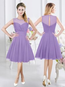 Extravagant Knee Length Lavender Dama Dress for Quinceanera Scoop Sleeveless Zipper