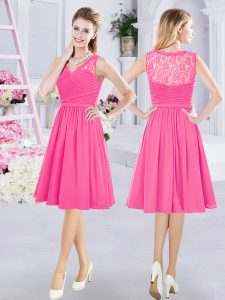 Chiffon V-neck Sleeveless Side Zipper Lace and Ruching Damas Dress in Hot Pink