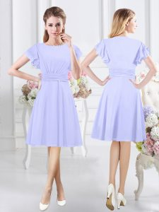 Lavender A-line Chiffon Scoop Short Sleeves Ruching Knee Length Side Zipper Court Dresses for Sweet 16