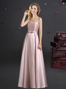 Superior Strapless Sleeveless Zipper Quinceanera Court of Honor Dress Pink Elastic Woven Satin