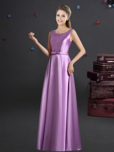 Wonderful Lilac Elastic Woven Satin Zipper Straps Sleeveless Floor Length Court Dresses for Sweet 16 Bowknot