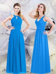 Halter Top Floor Length Baby Blue Dama Dress Chiffon Sleeveless Ruching