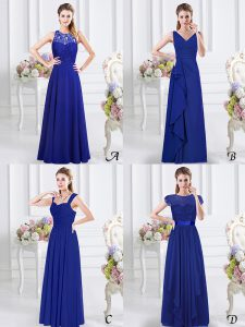 Comfortable Floor Length Royal Blue Dama Dress V-neck Sleeveless Zipper