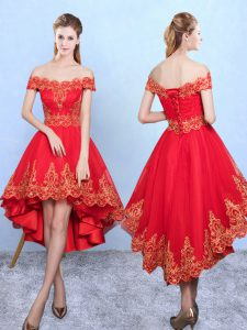 Fabulous Wine Red Taffeta Lace Up Off The Shoulder Sleeveless High Low Court Dresses for Sweet 16 Appliques
