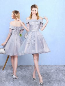 Classical Lavender Lace Up Dama Dress Appliques Half Sleeves Knee Length