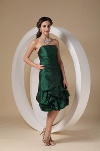 Dark Green Strapless Knee-length Taffeta Dama Dress with Beading