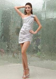 One Shoulder Ruched Silver Dama Dress with Hand Made Flowers
