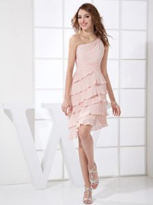 One Shoulder Pleated Pink Dama Dress with Hand Made Flower