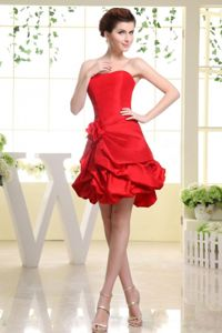 Strapless Short Red Dama Dresses For Quinceanera with Pick-ups