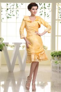 Yellow Custom Made Dama Dresses For Quinceanera in Sweetheart