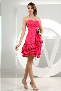 Sweetheart Taffeta Quinceanera Dama Dresses Hot Pink with Ruffles
