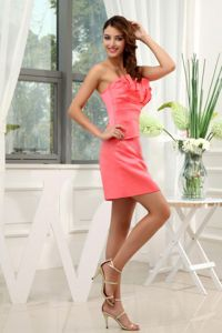 Strapless Satin Watermelon Prom Dresses For Dama Mini-length