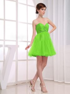 Beaded Ruched A-Line Spring Green Short Party Dama Dresses