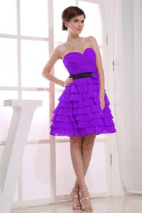 Sweetheart A-Line Purple Cocktail Dresses For Dama with Ruffles