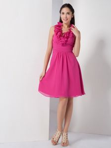 A-line Halter Hot Pink 15 Dresses For Damas in Chiffon with Ruches