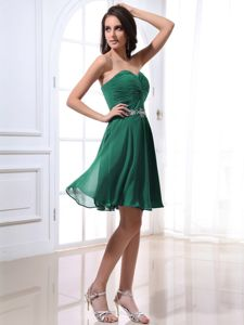 Sweetheart Strapless Beaded Dama Dress For Quinceaneras in Green