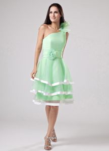 Green Ruffled One Shoulder Dama Dress with Hand Made Flowers