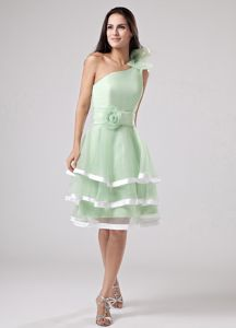 Ruffled One Shoulder Apple Green Party Dama Dresses with Sash