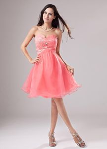 Sweetheart 15 Dresses For Damas with Beading in Watermelon Red
