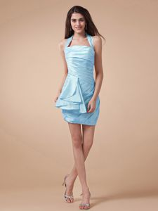 Halter Ruched Quinceanera Dama Dresses in Light Blue Mini-length