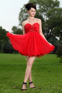 Red Sweetheart Short Organza Dresses For Damas with Beading
